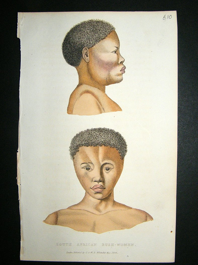 South African Bush Women: 1827 Hand Col Print