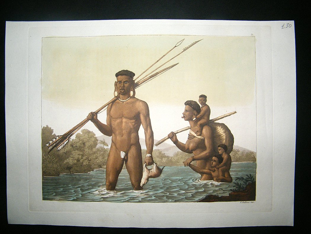 aquatint. nude natives. hand coloured. 5950 p Free Net Porn