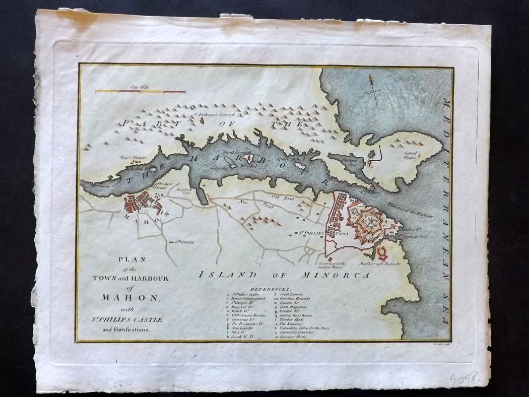 Cary 1801 HCol Map Plan of the Town and Harbour of Mahon Menorca Spain