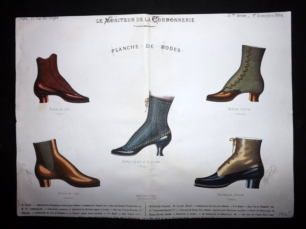 le moniteur de la cordonnerie 1886 rare hand colored shoe. Black Bedroom Furniture Sets. Home Design Ideas