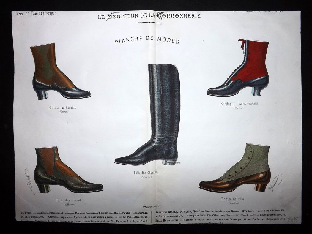 le moniteur de la cordonnerie 1887 rare hand colored shoe. Black Bedroom Furniture Sets. Home Design Ideas
