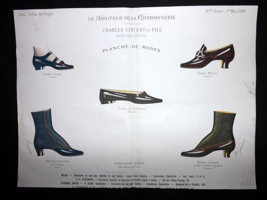 le moniteur de la cordonnerie 1888 rare hand colored shoe. Black Bedroom Furniture Sets. Home Design Ideas