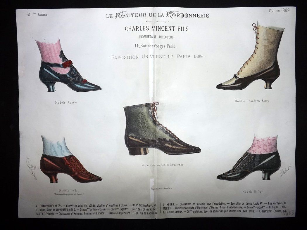 le moniteur de la cordonnerie 1889 rare hand colored shoe. Black Bedroom Furniture Sets. Home Design Ideas