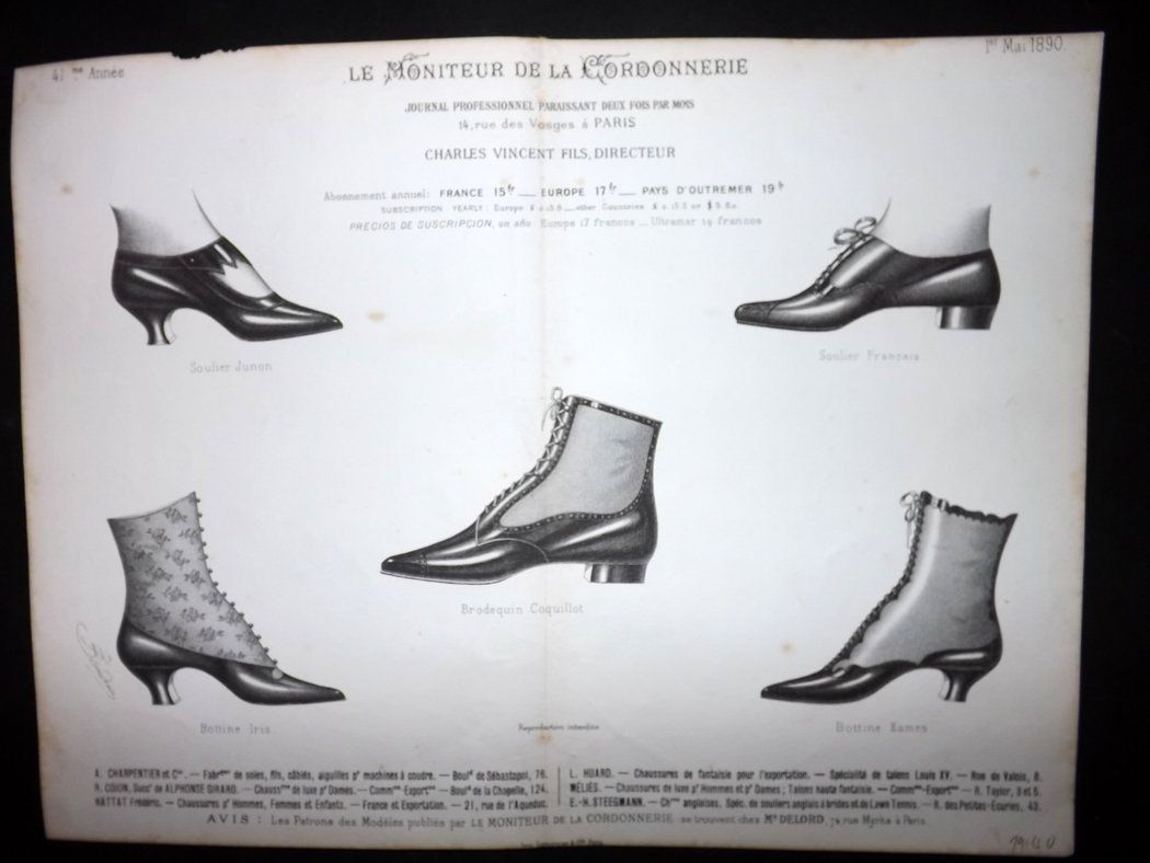 le moniteur de la cordonnerie 1890 rare antique shoe. Black Bedroom Furniture Sets. Home Design Ideas