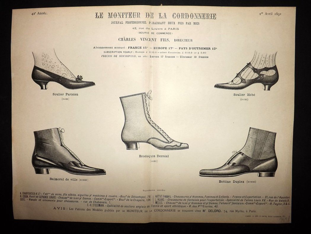 le moniteur de la cordonnerie 1891 rare antique shoe. Black Bedroom Furniture Sets. Home Design Ideas