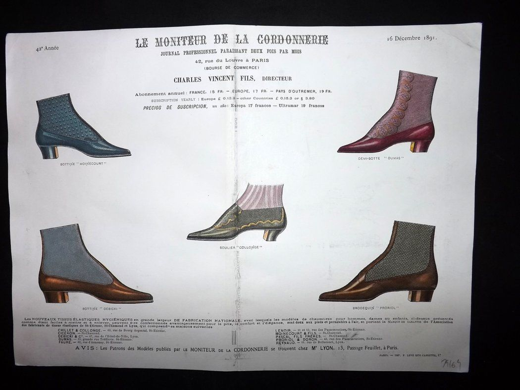 le moniteur de la cordonnerie 1891 rare hand colored shoe. Black Bedroom Furniture Sets. Home Design Ideas