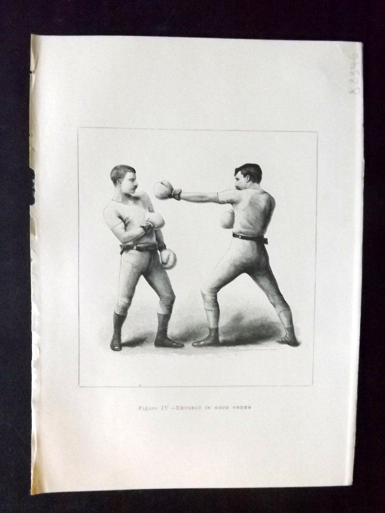 Badminton Library 1893 Antique Boxing Print  Retreat In Good Order