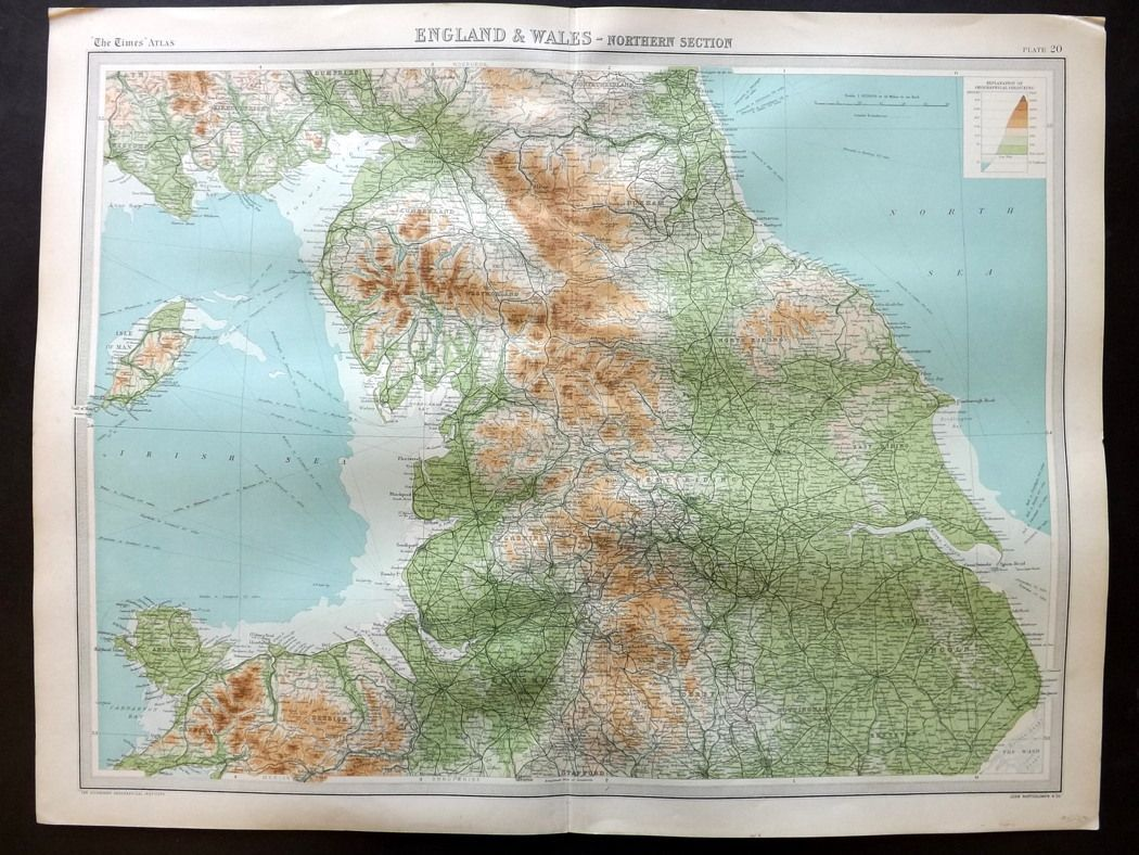 Large Map Of England.Bartholomew 1922 Large Map England Wales Northern Section
