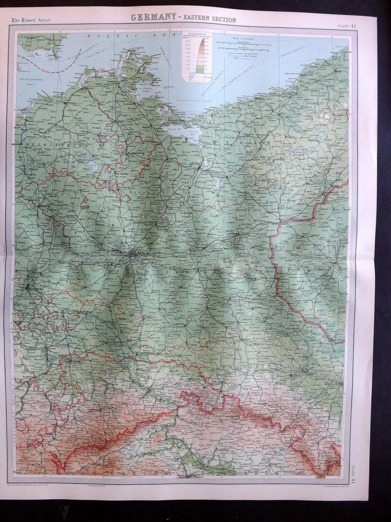 Bartholomew 1922 Large Map. Germany, Eastern Section