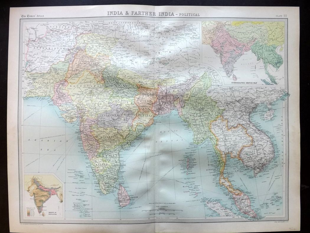 Bartholomew 1922 Large Map. India & Farther India