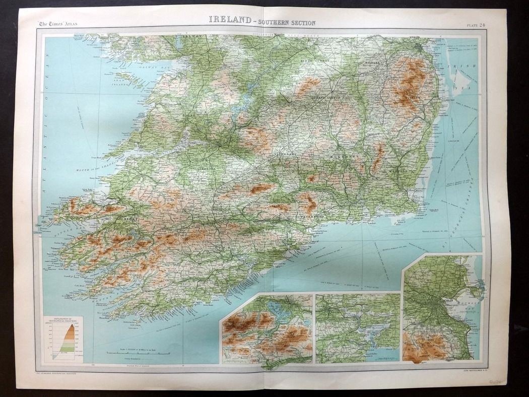 Bartholomew 1922 Large Map. Ireland, Southern Section