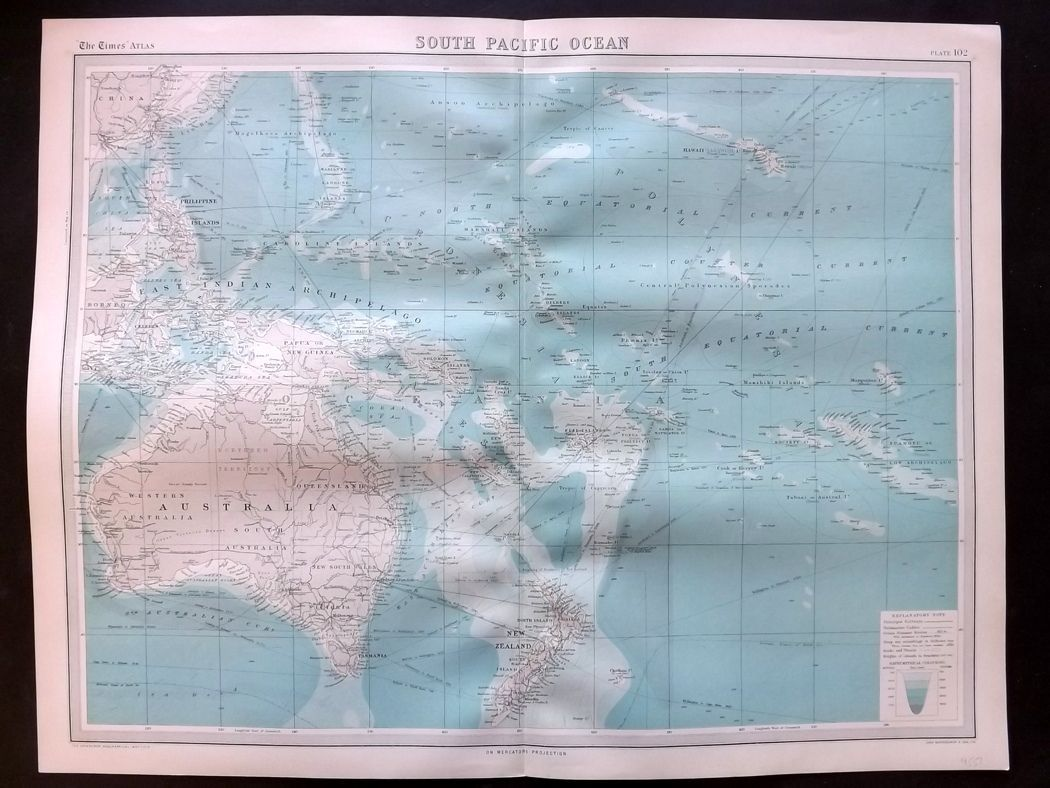 Bartholomew 1922 Large Map. South Pacific Ocean