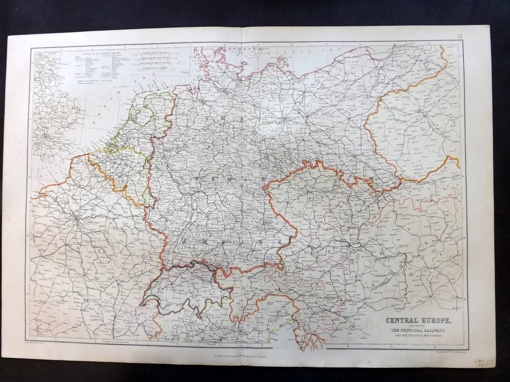 Blackie Weller 1882 Antique Map Central Europe Germany Bohemia