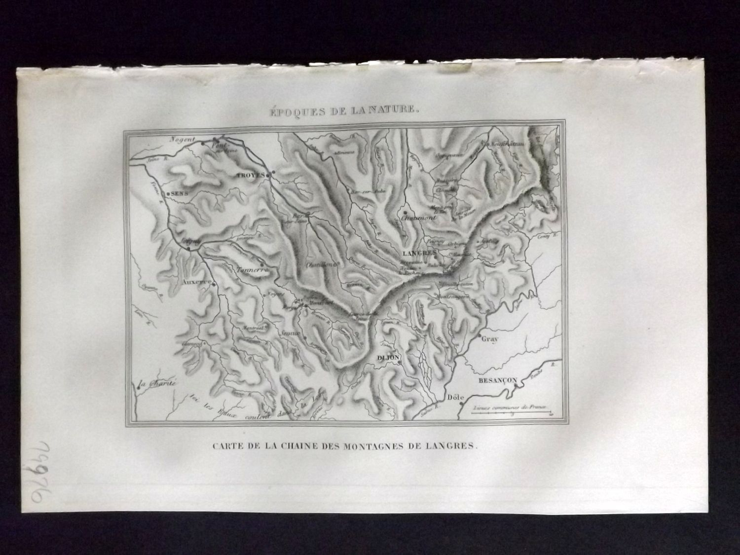 Mountains Of France Map.Buffon 1849 Hand Col Map Langres Mountains Champagne Ardenne France