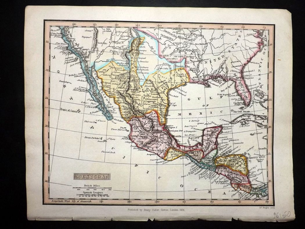 Clarke C1820 Hand Col Map. Mexico & C. California Southern USA