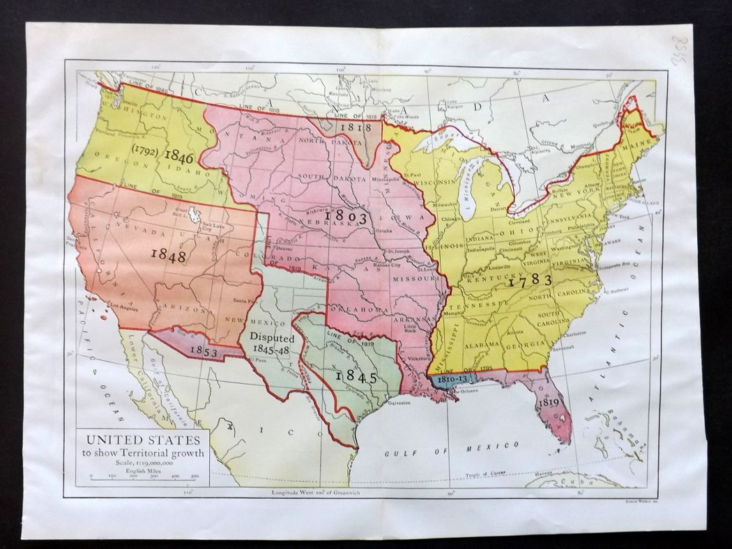 Show A Map Of United States.Encyclopaedia Britannica 1911 Map United States To Show Territorial