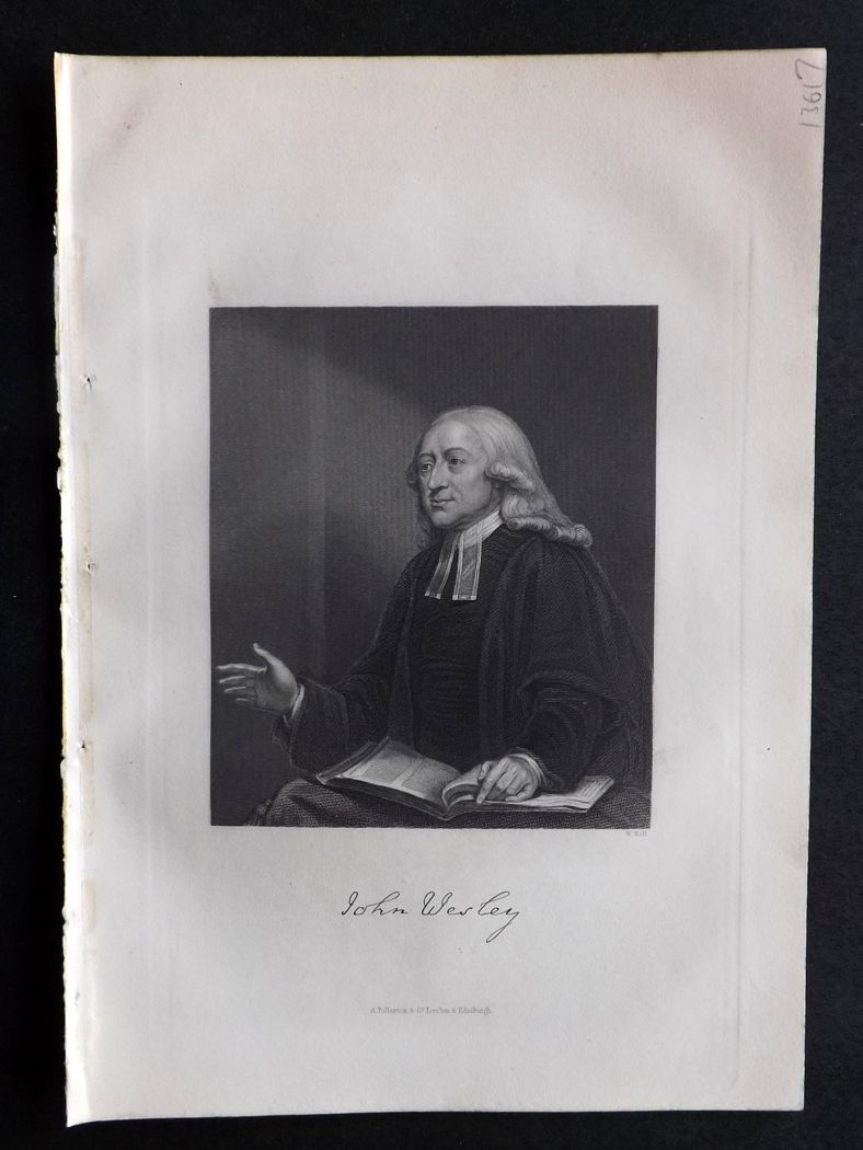 Rev. Gardner 1860 Antique Portrait Print. John Wesley.