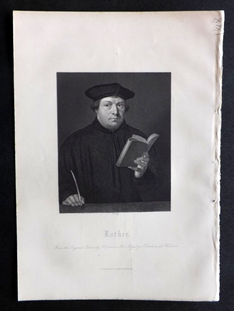 Rev. Gardner 1860 Antique Portrait Print. Martin Luther.