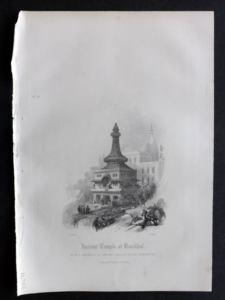 Rev. Gardner 1860 Antique Print. Ancient Temple of Kunkhul, India.