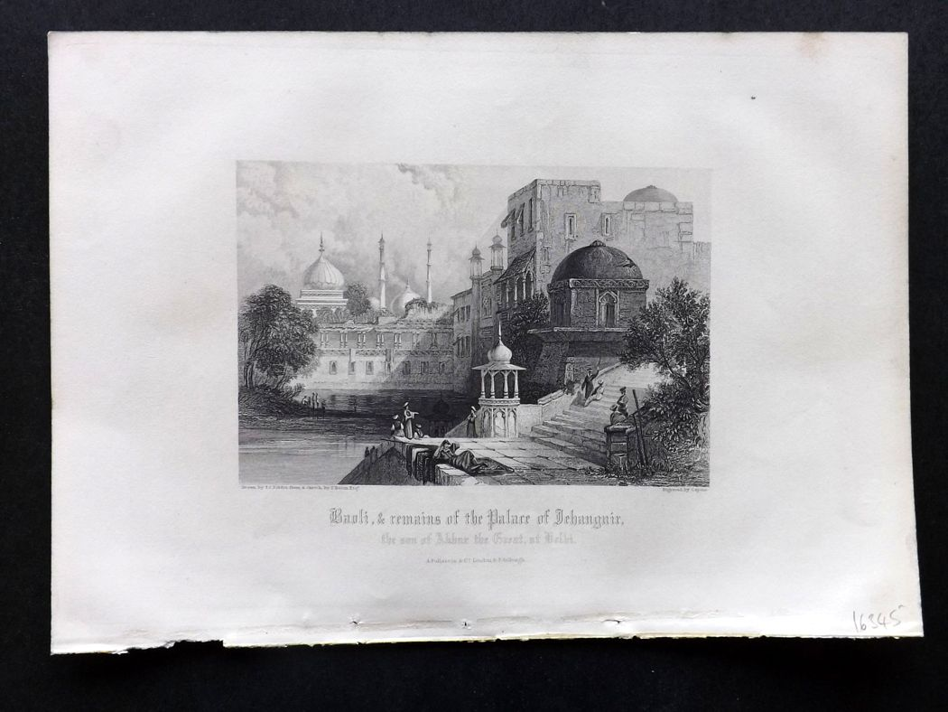 Rev. Gardner 1860 Antique Print. Baoli & Remains of the Palace of Jehanguir, India.