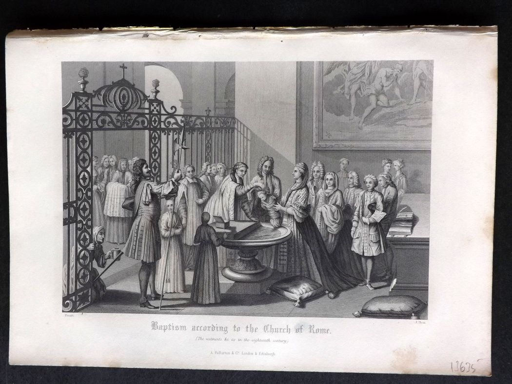 Rev. Gardner 1860 Antique Print. Baptism according to the Church of Rome, Italy.