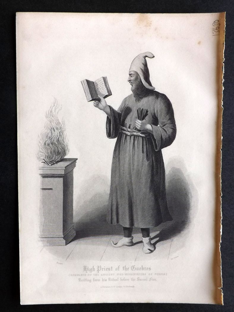 Rev. Gardner 1860 Antique Print. High Priest of the Guebres. Persia.