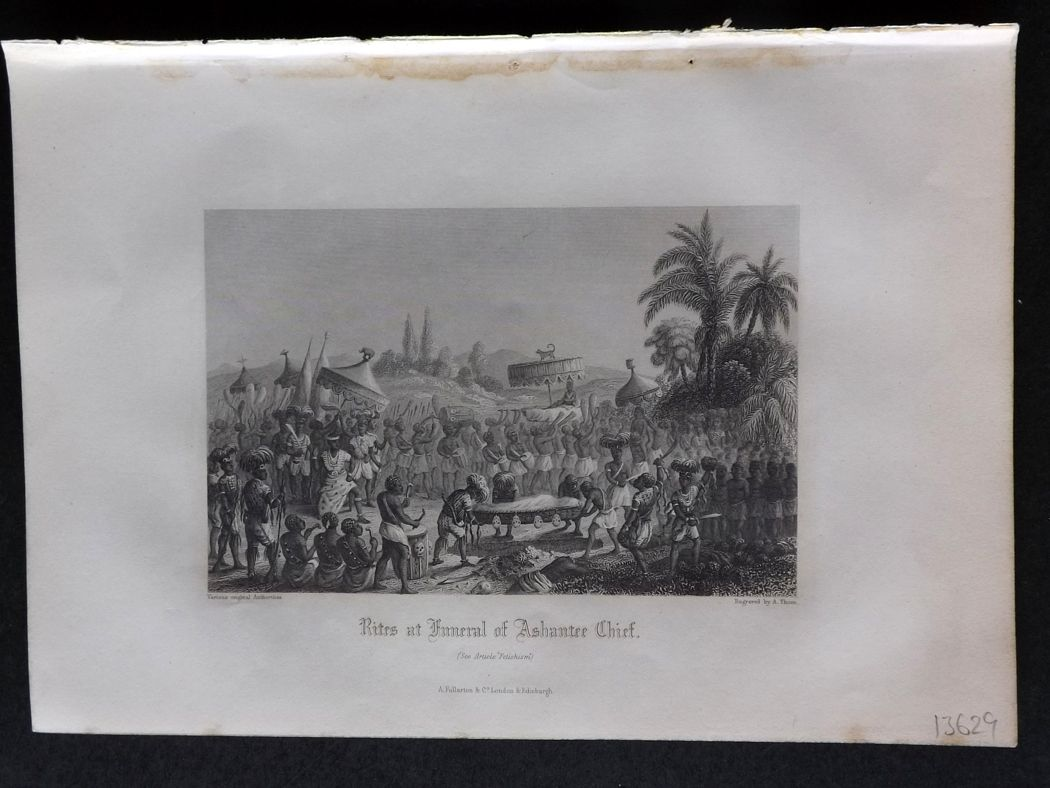 Rev. Gardner 1860 Antique Print. Rites at Funeral of Ashantee Chief, Africa.