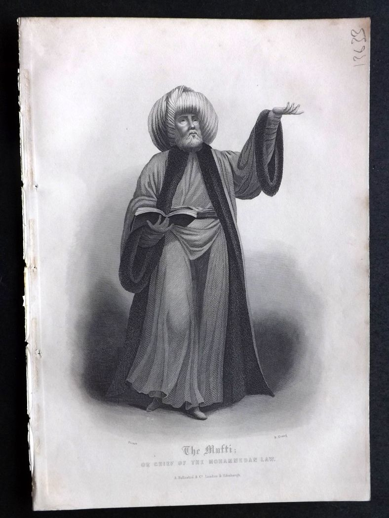 Rev. Gardner 1860 Antique Print. The Mufti or Chief of the Mohammedan Law. Islam, Turkey.