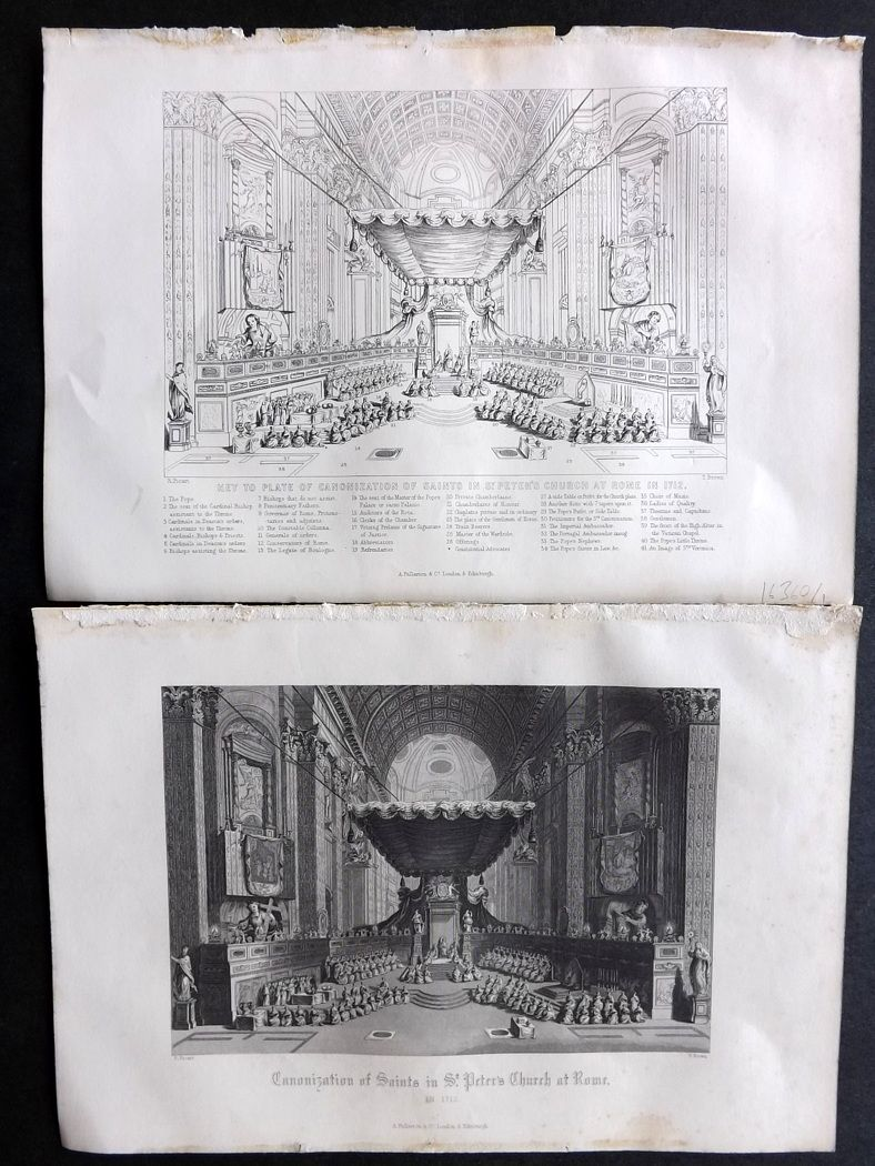 Rev. Gardner 1860 Antique Prints (2) Canonization of Saints in St. Peter's Church at Rome, Italy.
