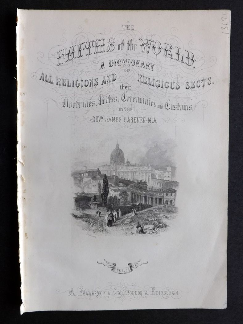 Rev. Gardner 1860 The Faith's of the World Illus. Title Page. St. Peter's Rome, Italy.