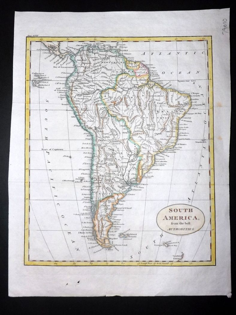 Map Of America In 1812.Guthrie 1812 Antique Hand Col Map South America From The Best
