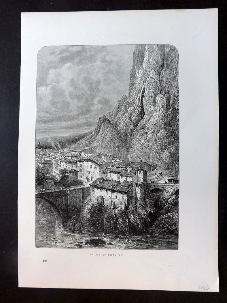 Picturesque Europe C1875 Antique Print. Bridge of Sisteron, France