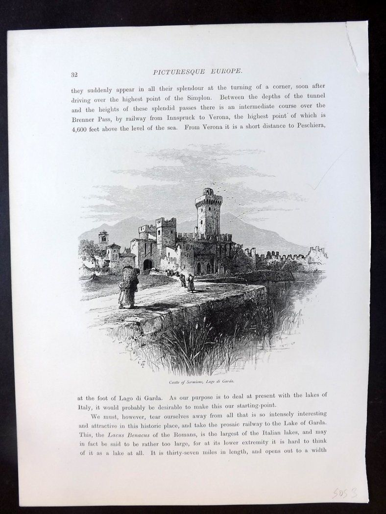 Picturesque Europe C1875 Antique Print. Castle of Sermione, Lago di Garda, Italy