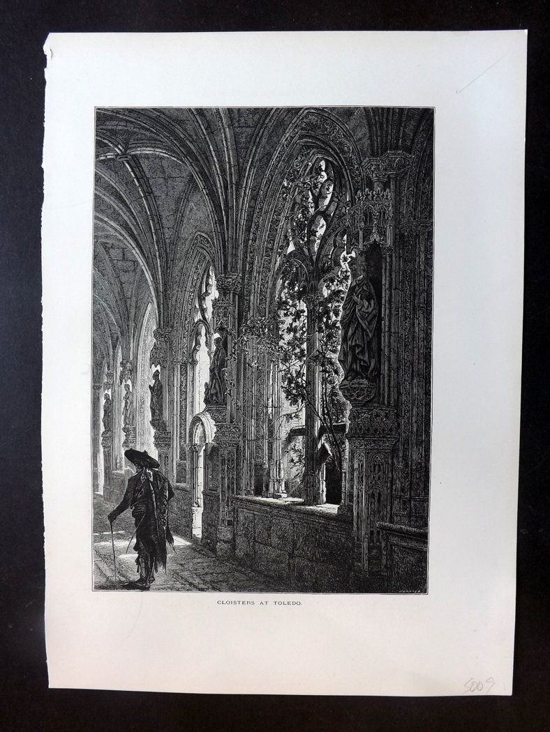 Picturesque Europe C1875 Antique Print. Cloisters at Toledo, Spain