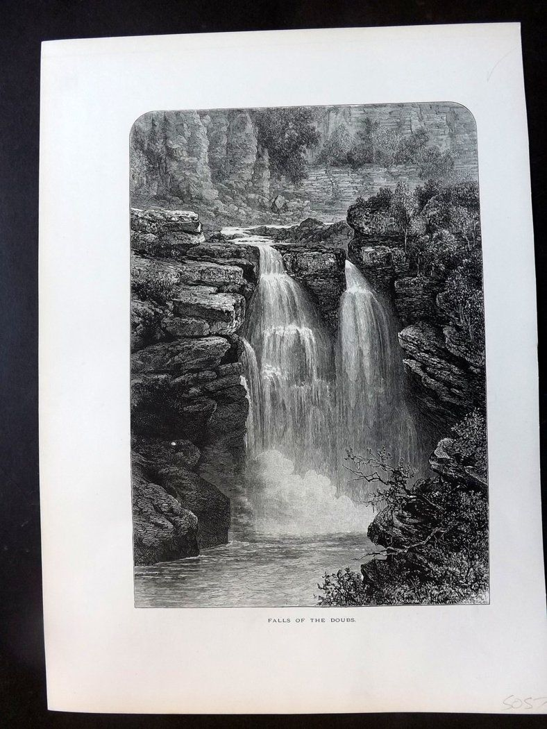 Picturesque Europe C1875 Antique Print. Fall of the Doubs, Switzerland