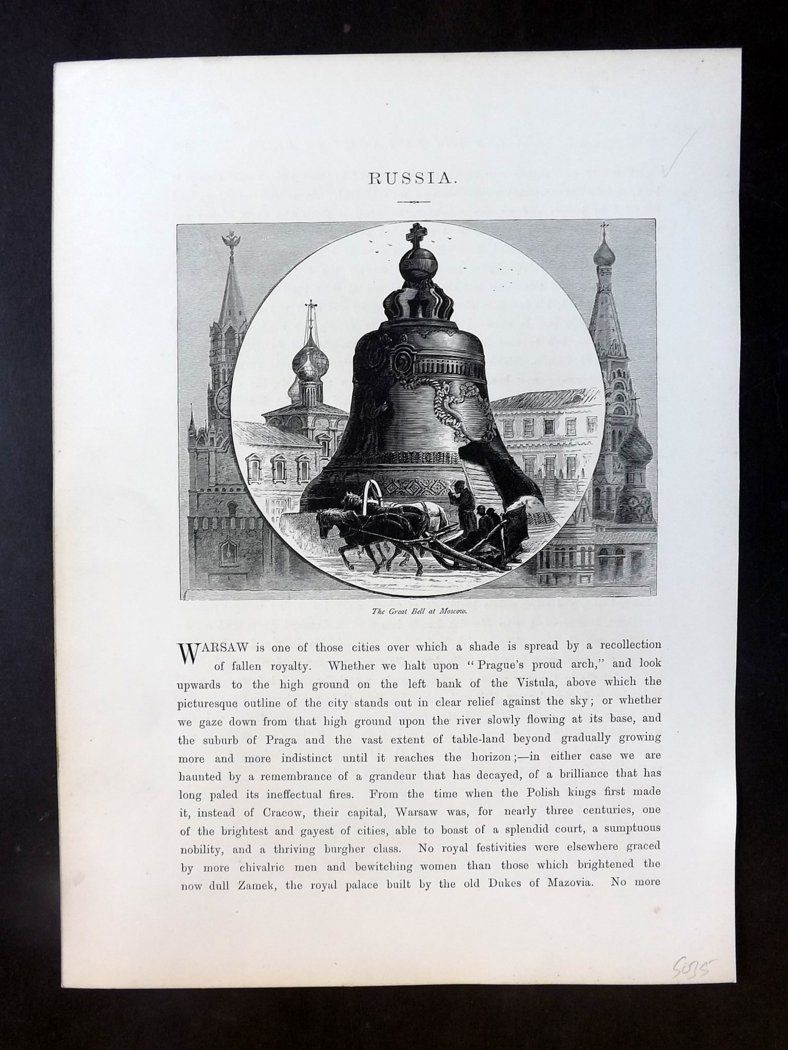 Picturesque Europe C1875 Antique Print. Great Bell of Moscow, Russia