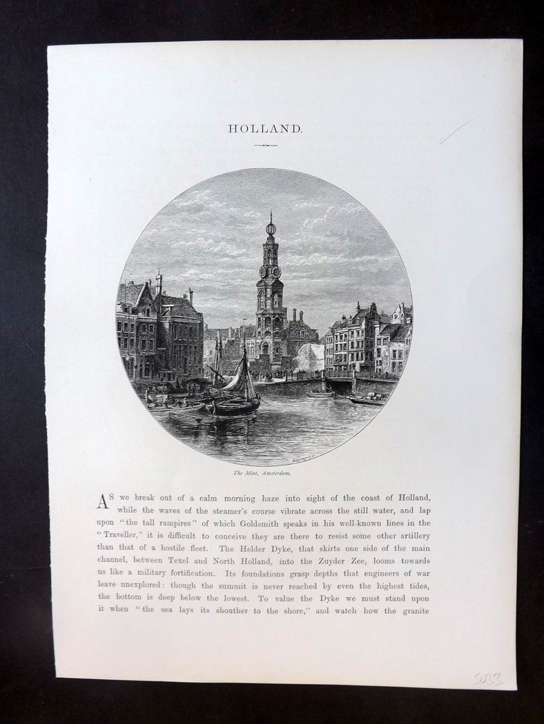 Picturesque Europe C1875 Antique Print. The Mint, Amsterdam, Netherlands