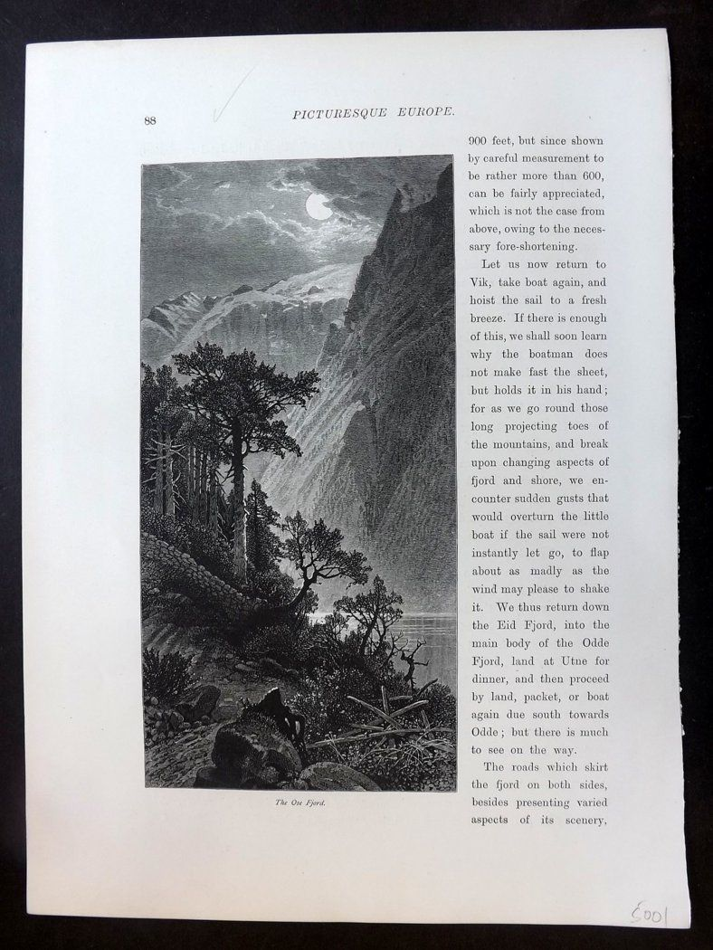 Picturesque Europe C1875 Antique Print. The Ose Fjord, Norway