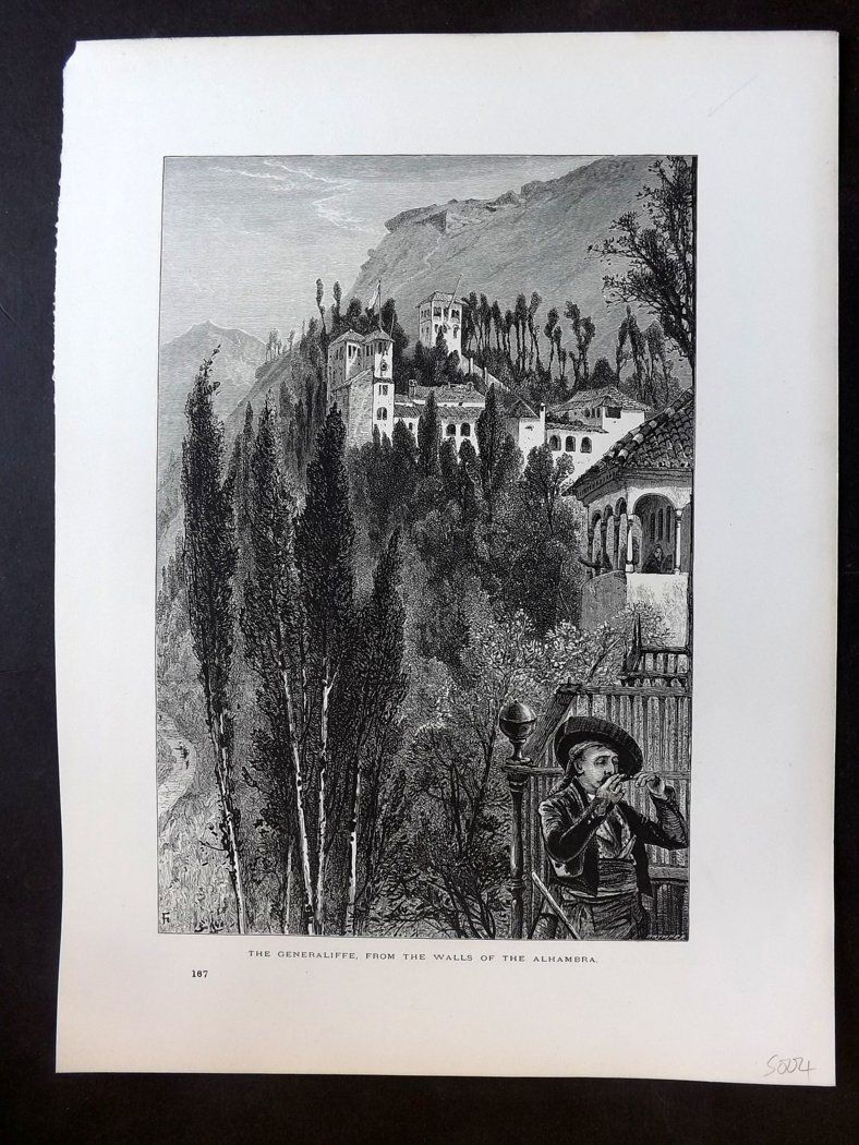 Picturesque Europe C1875 Print. Generaliffe from the Walls of the Alhambra Spain
