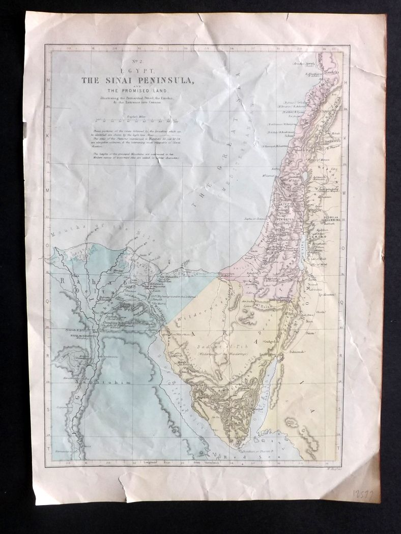 W. Highes C1890 Antique Map. Egypt The Sinai Peninsula