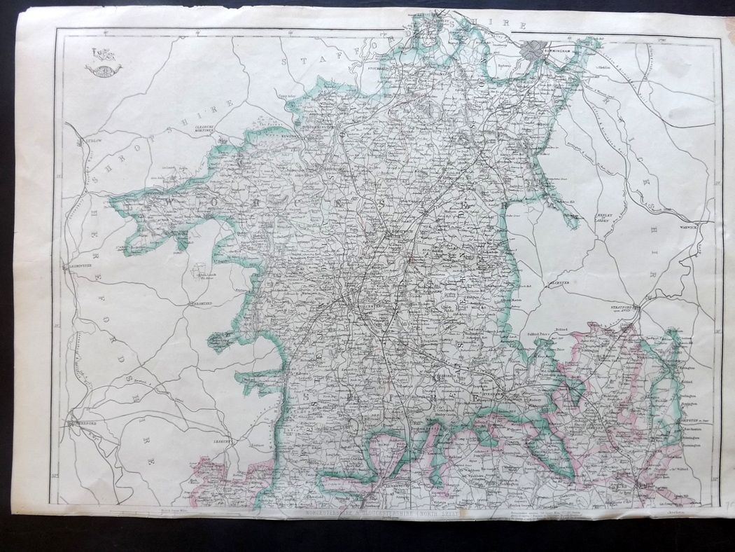 Weekly Dispatch C1860 Antique Map. Worcestershire & Gloucestershire on
