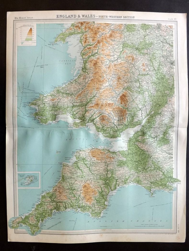 Map Of England And Wales.Bartholomew 1922 Large Map England Wales South Western Section