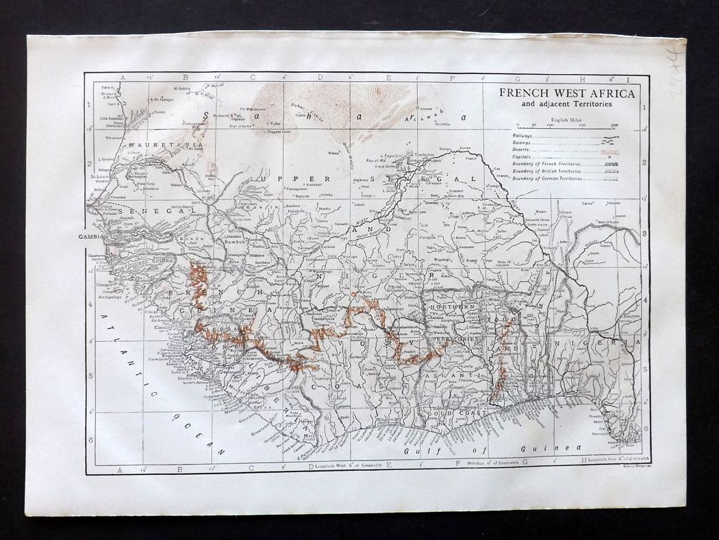 French Africa Map.Encyclopaedia Britannica 1911 Antique Map French West Africa