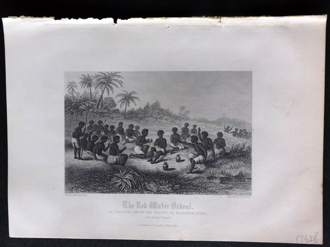 Rev. Gardner 1860 Antique Print. The Red Water Ordeal, Northern Guinea, Africa.
