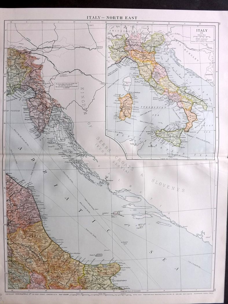 Large Map Of Italy.Gross 1920 Large Map Italy North East