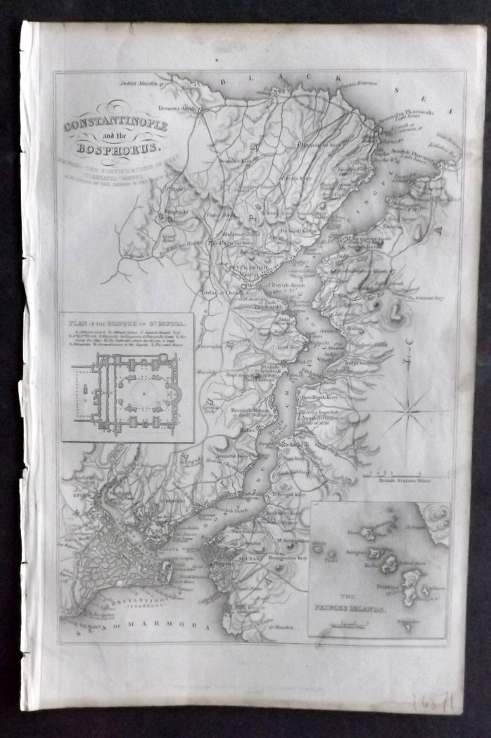 Tyrrell 1858 Antique Map. Constantinople and the Bosphorus, Turkey