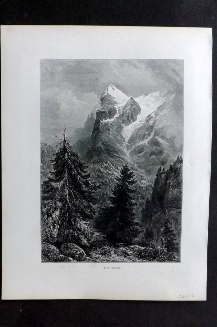 Picturesque Europe 1870s Antique Print. The Eiger, Switzerland