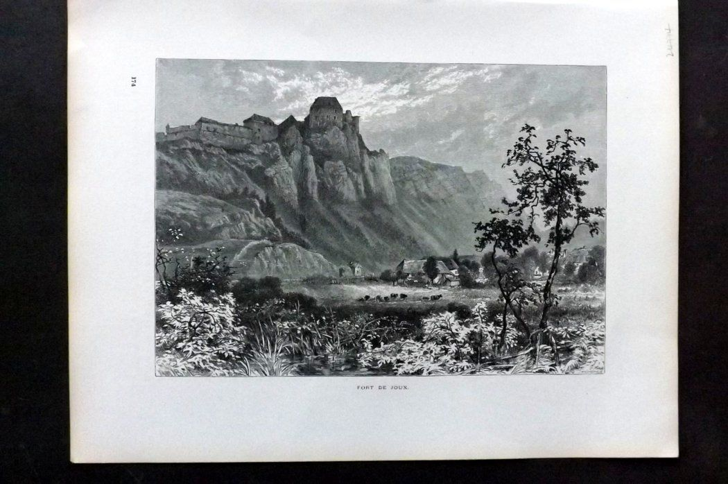 Picturesque Europe 1870s Antique Print. Fort de Joux, France
