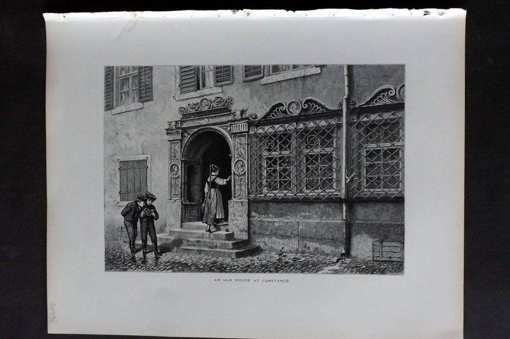 Picturesque Europe 1870s Antique Print. Old House at Constance, Switzerland