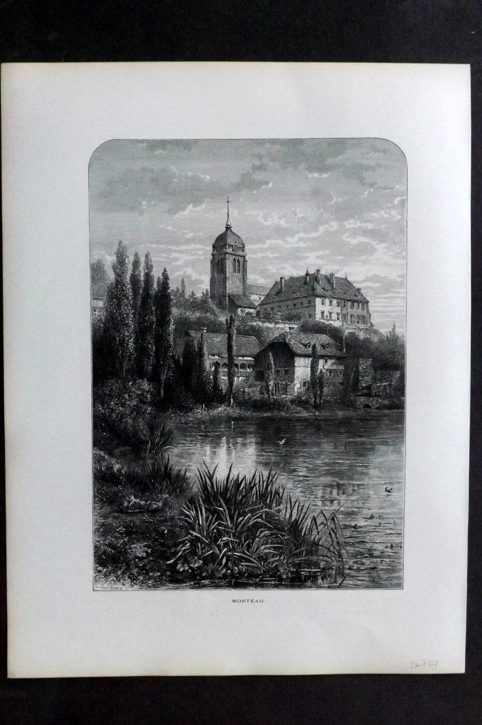 Picturesque Europe 1870s Antique Print. Morteau, France